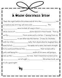 honey bunch free wacky christmas story mad lib style