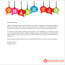 thank you letter for financial support bankofinfo