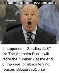 Anaheim Ducks Memes - the boudreau curse has struck again hockey memes it happened