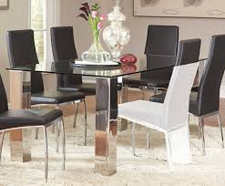 coaster bellini rectangular glass dining table stainless steel
