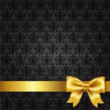 black and gold ribbon black damask background stock vector colourbox