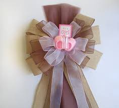baby shower bow burlap brown pink bow baby shower