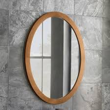oval bathroom mirrors with wooden framed