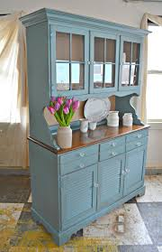 heir and space a maple ethan allen hutch in blue and cream