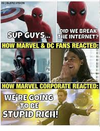 Internet Memes - ig blerdvision sop goy did we break the internet how marvel dc