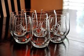 monogrammed wedding gift personalized etched stemless wine glasses wedding gift set of 8