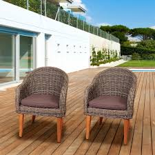 Outdoor Wicker Dining Set Amazonia Brynwood 2 Person Resin Wicker Patio Dining Arm Chair Set