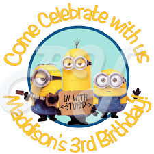 despicable me minions personalized birthday stickers