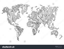 Animal World Map by World Map Animal Wild Wildlife Flower Stock Vector 448717810