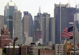 manhattan skyline a look back the u s flag against a manhattan skyline u2013 a gator