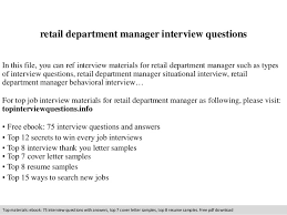 Resume Examples For Retail by Retail Department Manager Interview Questions