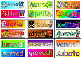 months of the year and days of the week in italian printable