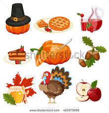set colorful icons thanksgiving day stock vector 117701626