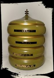 vintage lincoln beautyware avacado aluminum stacking canister set