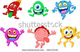 happy cartoon monster collection stock illustration 184172450