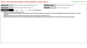Mechanic Resume Template Pump Mechanic Resume Sample
