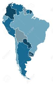 Political Map Of South America by Political Map Of South America In Cold Blue Colors Royalty Free