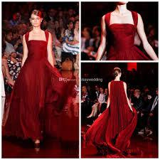 2014 elie saab red carpet straps a line full length burgundy