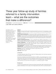 three year follow up study of families referred to a family
