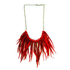 red leather necklace images Handmade bohemian and chic accessories leather and rope jpg
