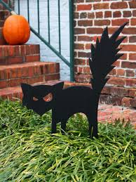 black cat outdoor halloween decoration hgtv