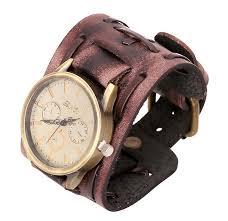 leather strap bracelet watches images Vintage genuine leather bracelet watch fashion punk men teens jpg