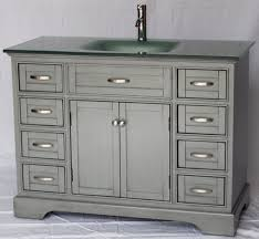 Bathroom Vanities Free Shipping by 46 Inch Bathroom Vanity Shaker Doors Style Gray Color With Glass