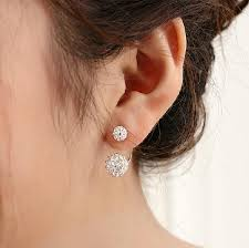 back stud earrings back hanging design side fashion jewelry