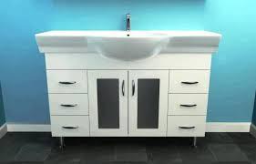 modern white wooden sink cabinet black marble flooring white