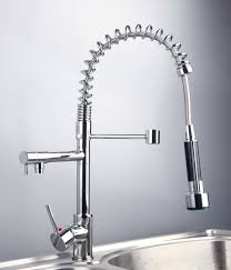 new chrome polished pull out spray kitchen faucet double hanlde