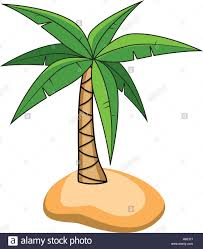 vector cartoon of palm tree on a small island for travel