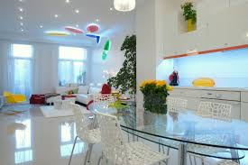 white room interiors 25 design ideas for the color of light the dashes of color in this all white apartment are made even more vibrant with the use of led lights in fact the colorful discs on the living room ceiling