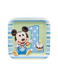 buy mickey mouse 1st birthday cake plate 8 pack in cheap price