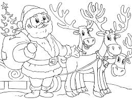 coloring pages to print of santa santa and reindeer coloring pages darach info
