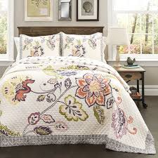 amazon com lush decor 5 piece aster quilted comforter set king