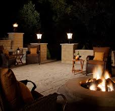 Patio Pillar Lights Decorations Admirable Courtyard With Tile Deck And Metal