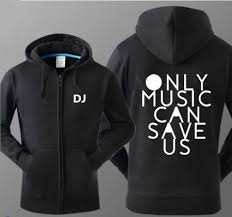 only music can save us dj hoodie with zipper for men plus size