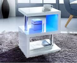 High Gloss Side Table Alaska Modern Design White High Gloss Coffee Side Table With Blue