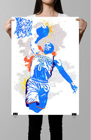 fan art poster russell westbrook oklahoma city thunder wall