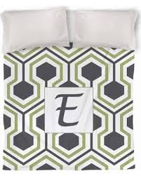savings on thumbprintz honeycomb monogram duvet cover grey