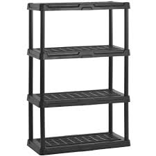 Free Standing Garage Shelves Plans by Heavy Duty Plastic Shelving Four Shelf In Heavy Duty Storage