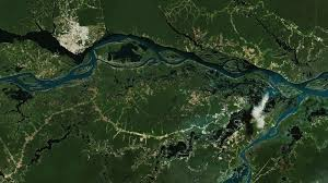 South America Satellite Map by Manaus The Amazon Metropolis Earth From Space