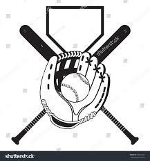 black white composition baseball bats glove stock vector 206916193