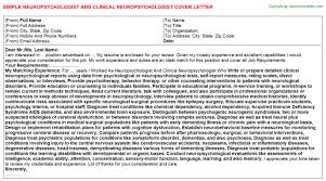 neuropsychologist and clinical neuropsychologist cover letter