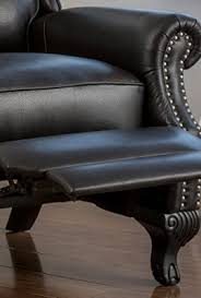 Black Leather Recliner Curtis Black Leather Recliner Club Chair With Nailhead Accents