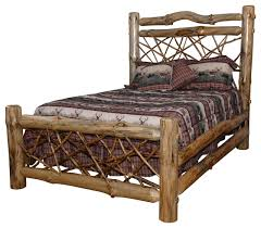 Log Queen Bed Frame Rustic Pine Log Queen Size Twig Bed Clear Varnish Rustic Beds