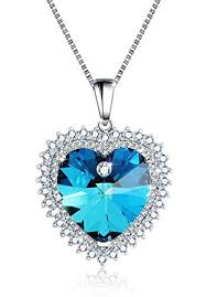 love crystal necklace images Mtree womens heart pendant necklace beautiful cute love necklaces jpg