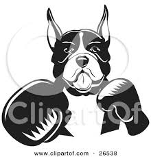 boxer dog black and white clipart illustration of a boxer dog with his tongue hanging out of