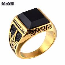 aliexpress buy 2016 new fashion men jewelry black cz 2016 new solid gold black onyx titanium steel men s signet masonic