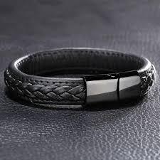 black magnetic bracelet stainless images Genuine leather braided bracelet with black stainless steel jpg